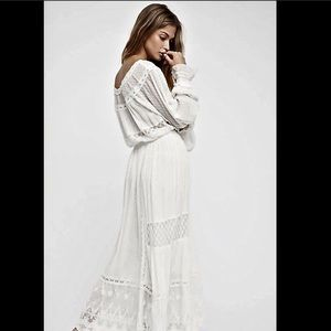 Free People Mixed Lace Off / On Shoulder  Dress XS